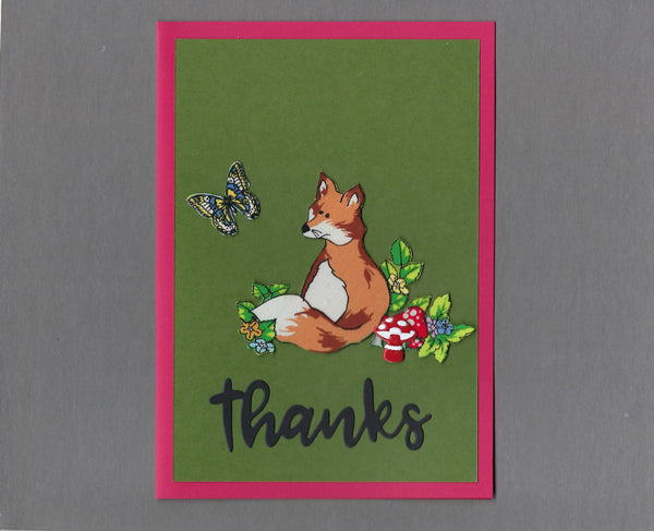 Handmade Fabric Flower Forest Fox Thanks Blank Greeting Card