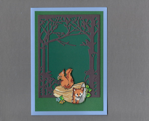 Handmade Fabric Squirrel and Fox Playing in a Log Blank Greeting Card