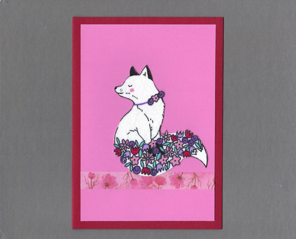 Handmade Fabric Flower Fox Pink Blank Greeting Card