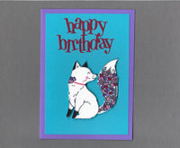 Handmade Fabric Flower Fox Happy Birthday Blank Greeting Card