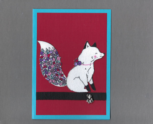 Handmade Fabric Flower Fox Charmed to Meet You Blank Greeting Card