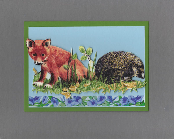 Handmade Fabric Forest Friends Fox Kit and Hedgehog Blank Greeting Card