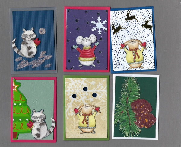 Handmade Fabric Forest Friends Christmas Blank Gift Enclosure Set