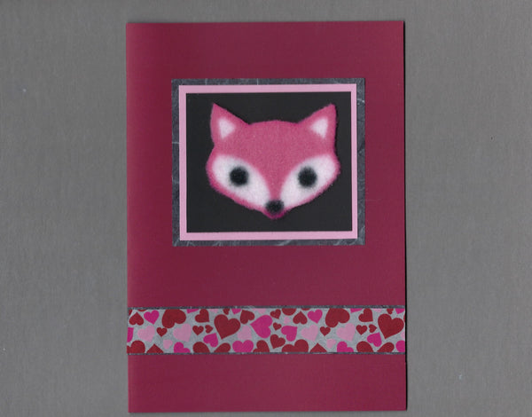 Handmade Fabric Fox Face Love Valentine's Day Blank Greeting Card