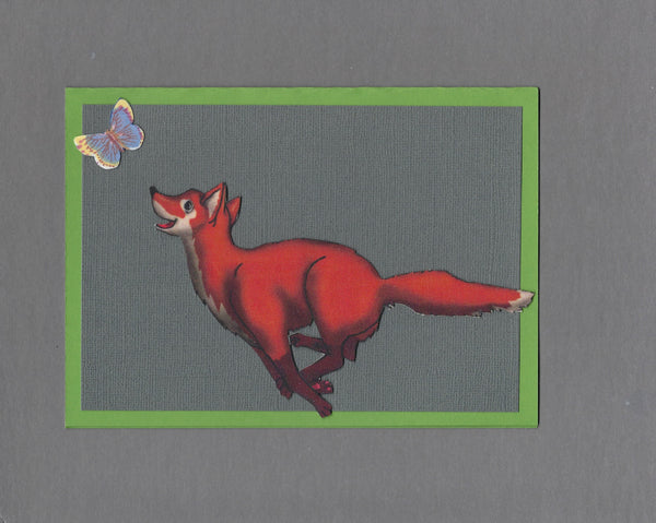 Handmade Fabric Fox Chasing a Butterfly Blank Greeting Card