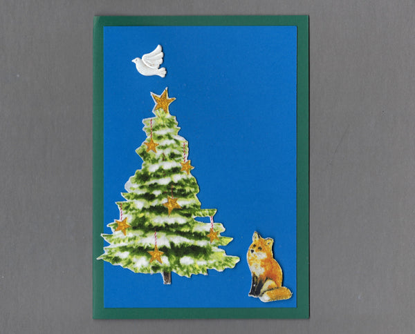 Handmade Fabric Fox and White Dove Christmas Holiday Blank Greeting Card