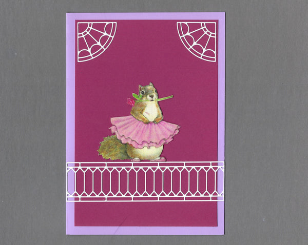 Handmade Fabric French Squirrel Ballerina Blank Greeting Card