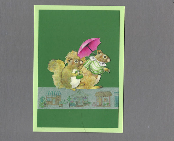 Handmade Fabric French Squirrel Couple Blank Greeting Card