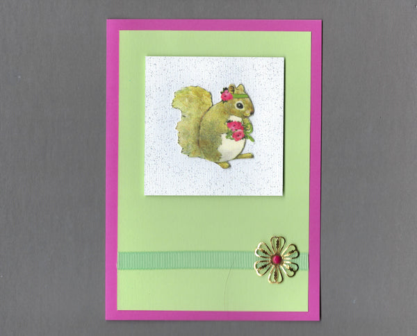 Handmade Fabric French Squirrel Flower Blank Greeting Card