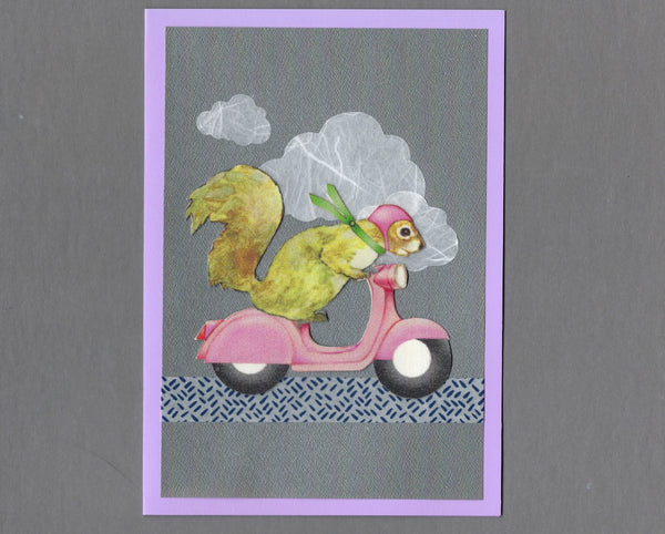 Handmade Fabric French Squirrel on Vespa Blank Greeting Card