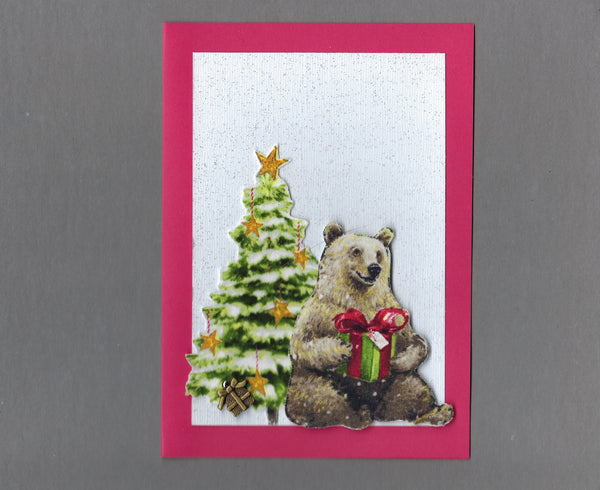 Handmade Fabric Grizzly Bear with Gifts Christmas Holiday Blank Greeting Card