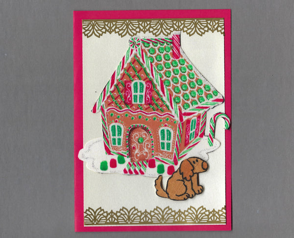 Handmade Fabric Gingerbread House Brown Dog Christmas Blank Greeting Card