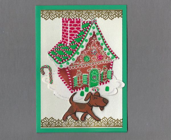 Handmade Fabric Gingerbread House Brown Spotted Dog Christmas Blank Greeting Card