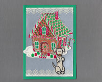 Handmade Fabric Gingerbread House Cream Dog Christmas Blank Greeting Card