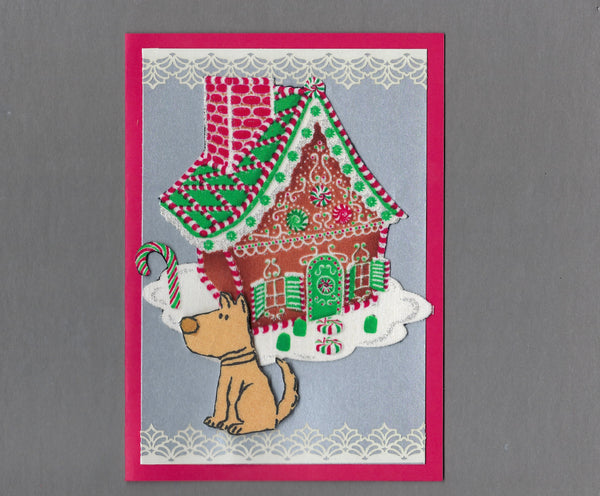 Handmade Fabric Gingerbread House Tan Dog Christmas Blank Greeting Card