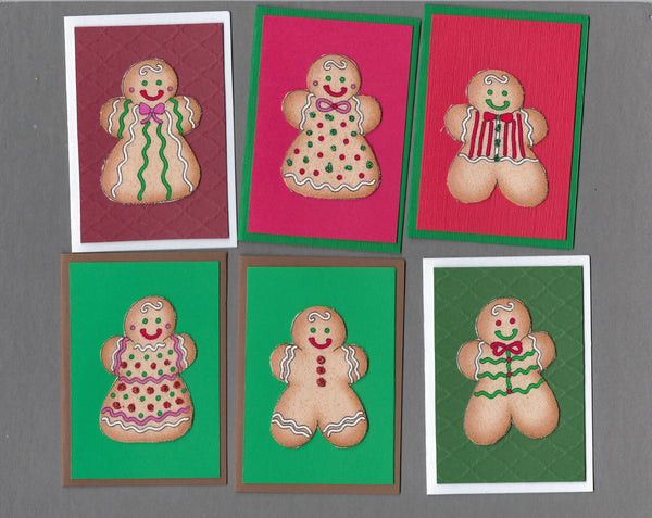Handmade Fabric Gingerbread Couples Christmas Blank Gift Enclosure Set