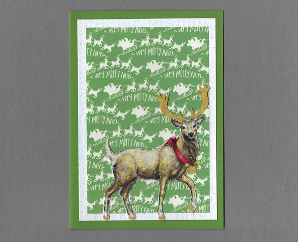 Handmade Fabric Elegant Buck Deer Christmas Holiday Blank Greeting Card