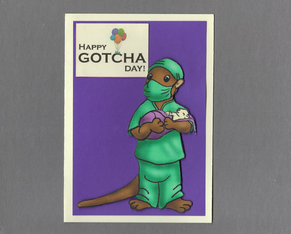 Handmade Fabric Happy Gotcha Doctor Ferret Blank Greeting Card