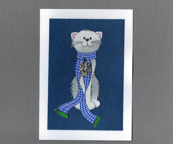Handmade Fabric Gray Cats Scarf Cat Christmas Blank Greeting Card