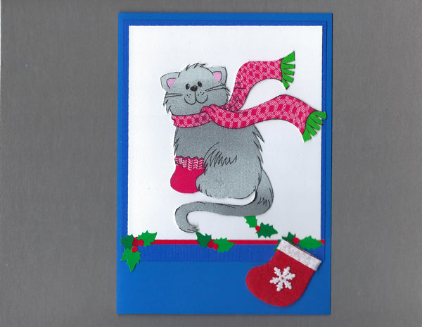 Handmade Fabric Gray Cats My Own Stocking Cat Christmas Blank Greeting Card