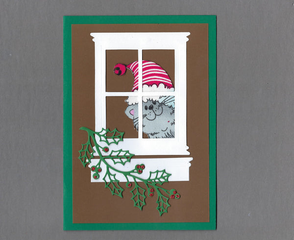 Handmade Fabric Gray Cats Peeping Tom Cat Christmas Blank Greeting Card