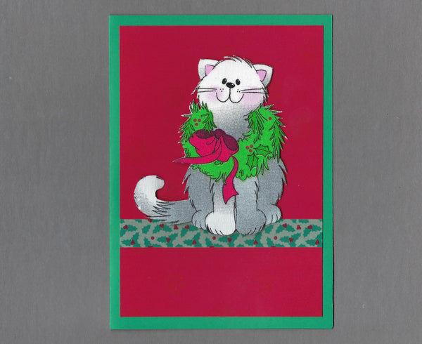 Handmade Fabric Gray Cats Wreath Cat Christmas Blank Greeting Card