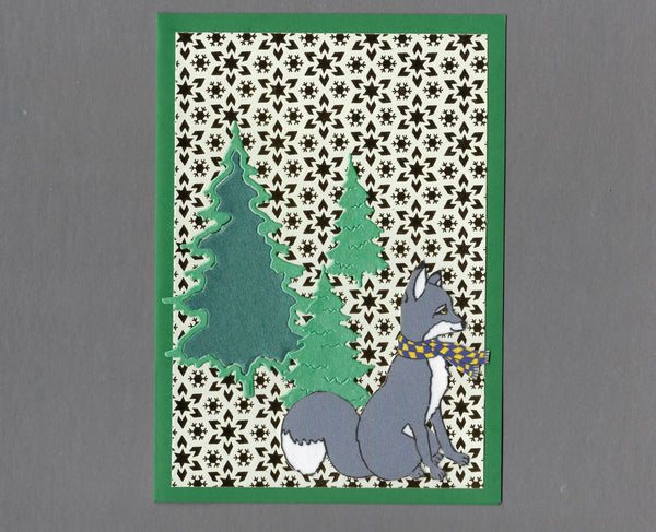 Handmade Fabric Gray Fox in the Trees Christmas Blank Greeting Card