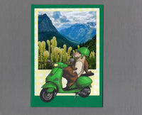 Handmade Fabric Green Scooter Ferret Blank Greeting Card