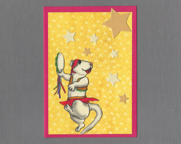 Handmade Fabric Gypsy Ferret Blank Greeting Card