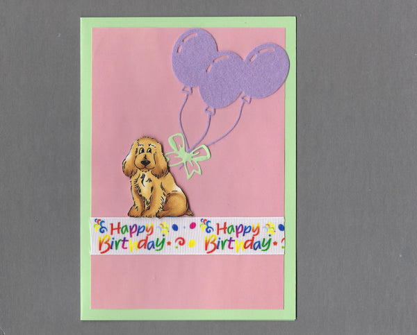 Handmade Fabric Happy Birthday Cocker Spaniel Dog Blank Greeting Card