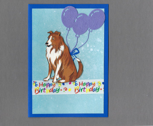 Handmade Fabric Happy Birthday Collie Dog Blank Greeting Card