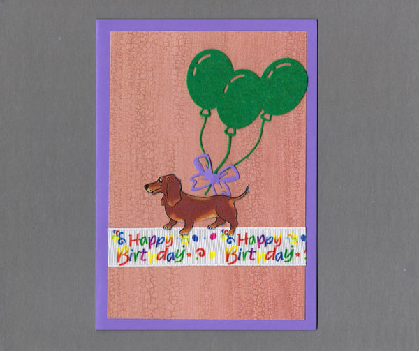 Handmade Fabric Happy Birthday Dachshund Doxie Dog Blank Greeting Card