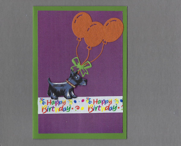 Handmade Fabric Happy Birthday Scottish Terrier Scottie Dog Blank Greeting Card