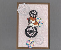 Handmade Fabric Steampunk Hamster Blank Greeting Card