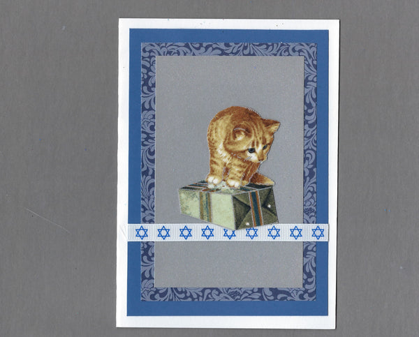 Handmade Fabric Kitten with Gift Blank Hanukkah Greeting Card