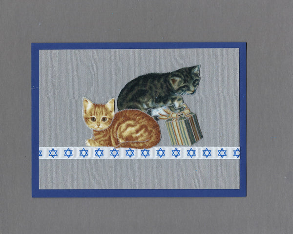 Handmade Fabric Kittens with Gift Blank Hanukkah Greeting Card
