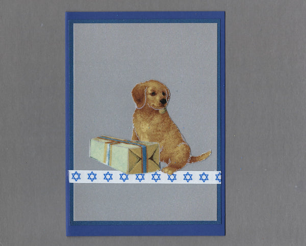 Handmade Fabric Puppy with Gift on Dark Blue Blank Hanukkah Greeting Card