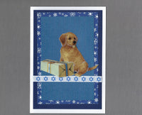 Handmade Fabric Puppy with Gift on White Blank Hanukkah Greeting Card