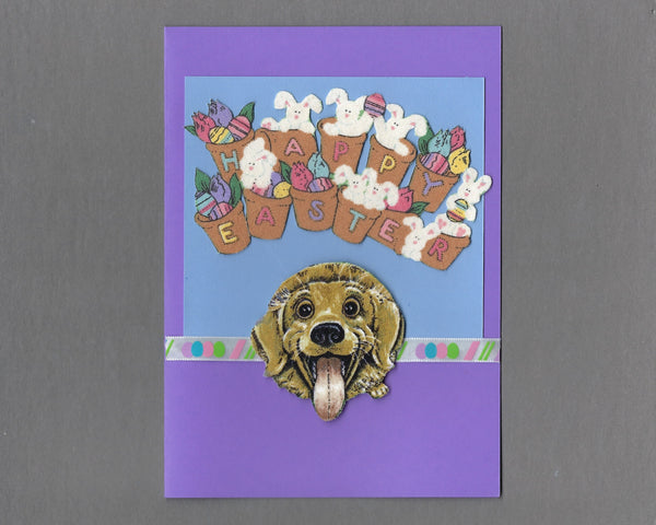 Handmade Fabric Happy Easter Dog Blank Greeting Card