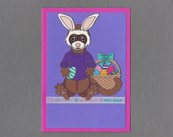 Handmade Fabric Happy Easter Purple Ferret Blank Greeting Card