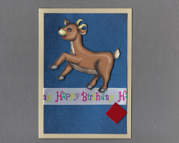 Handmade Fabric Buck Deer Happy Birthday Blank Greeting Card