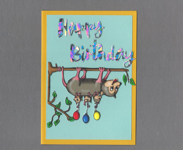 Handmade Fabric Happy Birthday Opossum Mom Blank Greeting Card