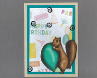 Handmade Fabric Happy Birthday Squirrel Blank Greeting Card