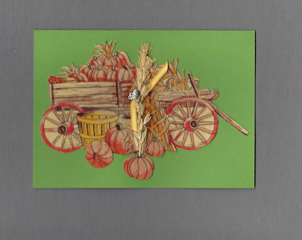 Handmade Fabric Harvest Wagon Fall Blank Greeting Card