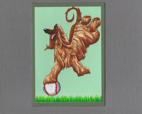 Handmade Fabric Have a Ball Afghan Hound Dog Blank Greeting Card