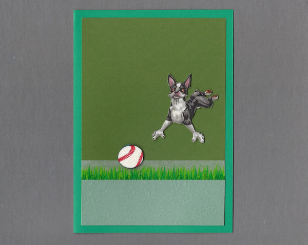 Handmade Fabric Have a Ball Boston Terrier Dog Blank Greeting Card