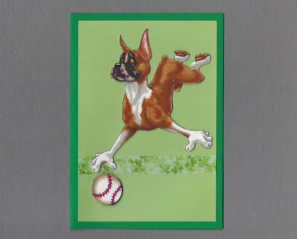 Handmade Fabric Have a Ball Boxer Dog Blank Greeting Card