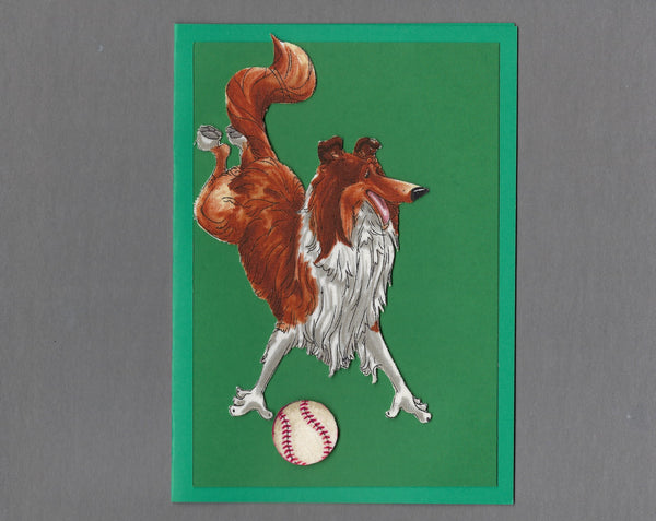 Handmade Fabric Have a Ball Collie Dog Blank Greeting Card