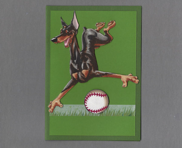 Handmade Fabric Have a Ball Doberman Pinscher Dog Blank Greeting Card