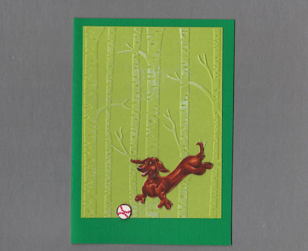 Handmade Fabric Have a Ball Dachshund Dog Blank Greeting Card